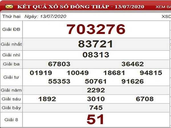 Bảng KQXSDT- Phân tích lô tô xổ số đồng tháp ngày 20/07